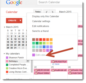 Google Birthday calendar